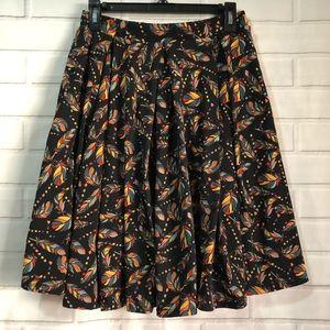 LulaRoe Madison Feather Printed Pockets Midi Skirt